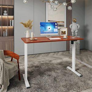 bureau assis-debout électrique Flexispot bureau design bois acajou et cadre blanc