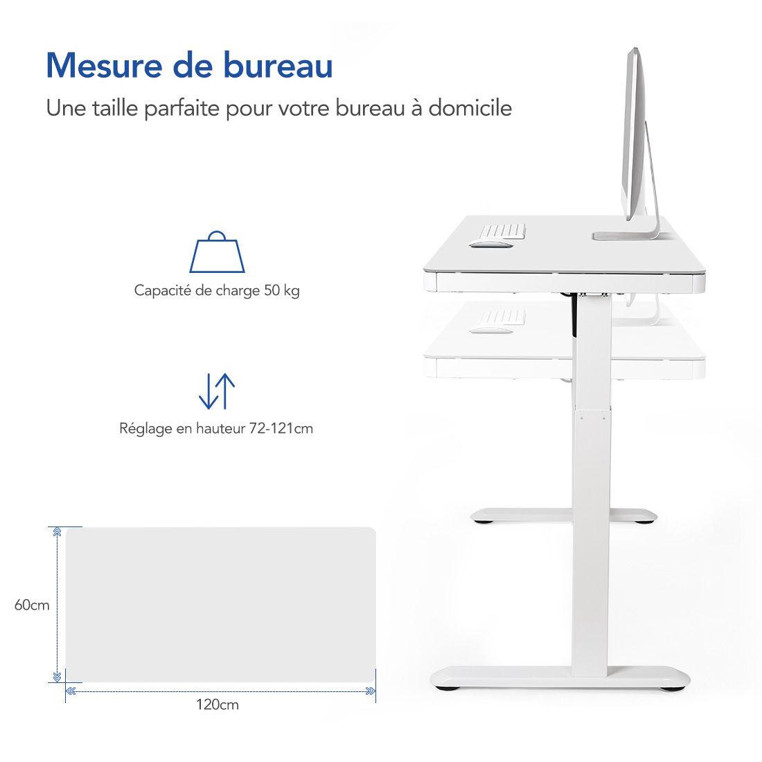 Bureau assis-debout Flexispot EG8W caractéristiques dimensionsjpg