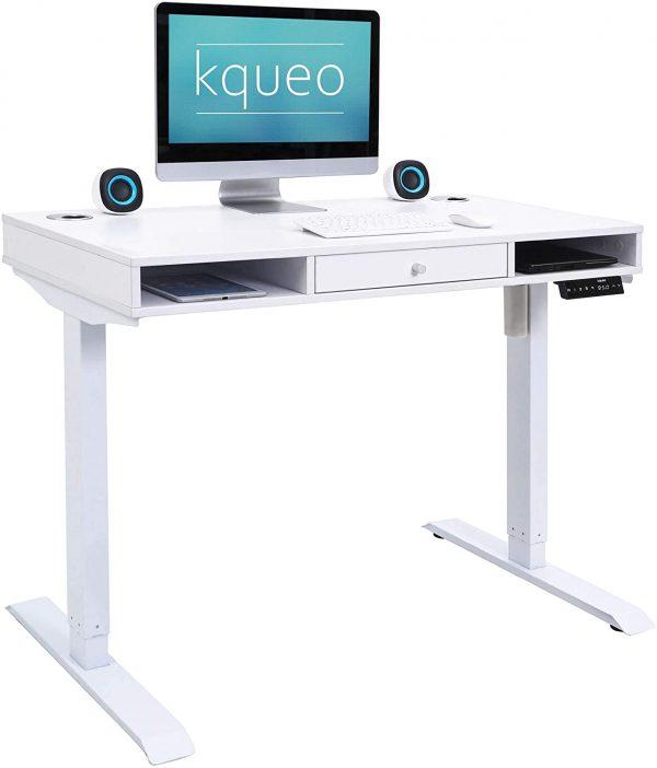 Bureau-assis-debout-electrique-KQUEO-Space-Lift-110-blanc-rangement