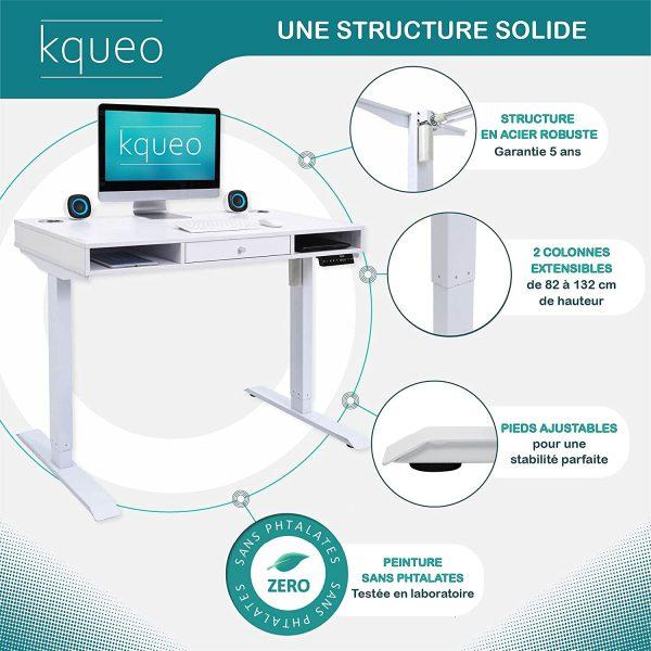 Bureau assis debout électrique KQUEO Space Lift 110 blanc rangement structure