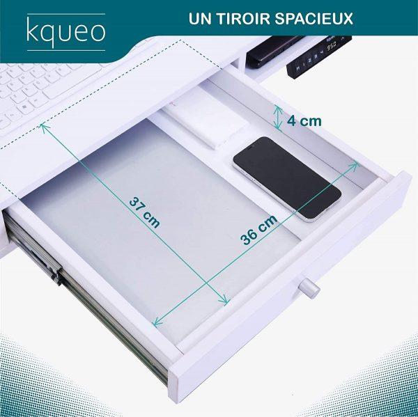 Bureau assis debout électrique KQUEO Space Lift 110 blanc tiroir dimensions