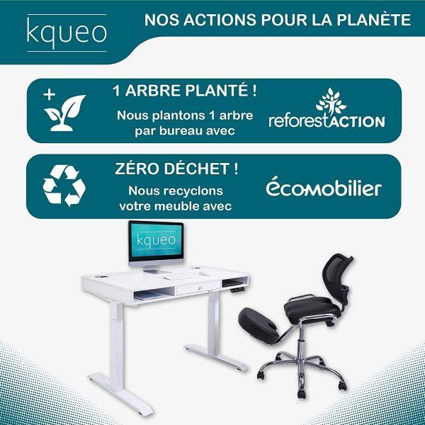 Bureau assis debout électrique KQUEO Space Lift 110 blanc tiroir environnement