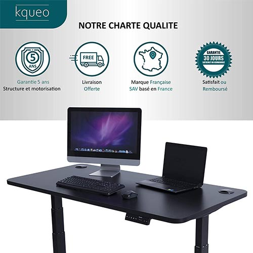 Bureau-assis-debout-électrique-Kqueo-K-Lift-X2-noir-charte-qualite