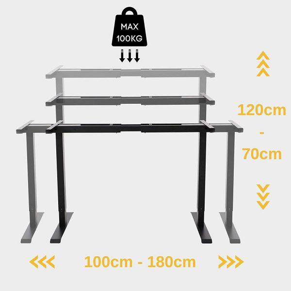 Bureau assis-debout électrique alldrei charge maximale