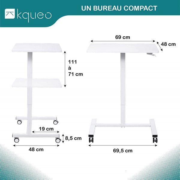 Bureau assis-debout mécanique KQUEO LIFT BP 69 blanc dimensions