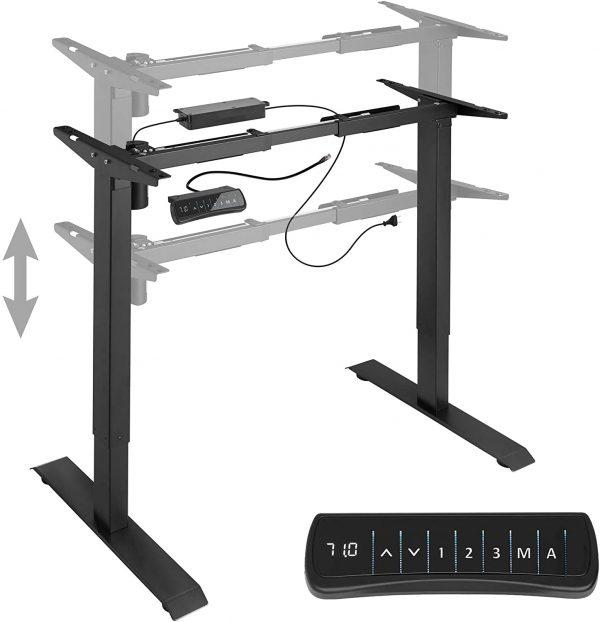 Cadre de bureau assis-debout électrique TecTake Noir 800665