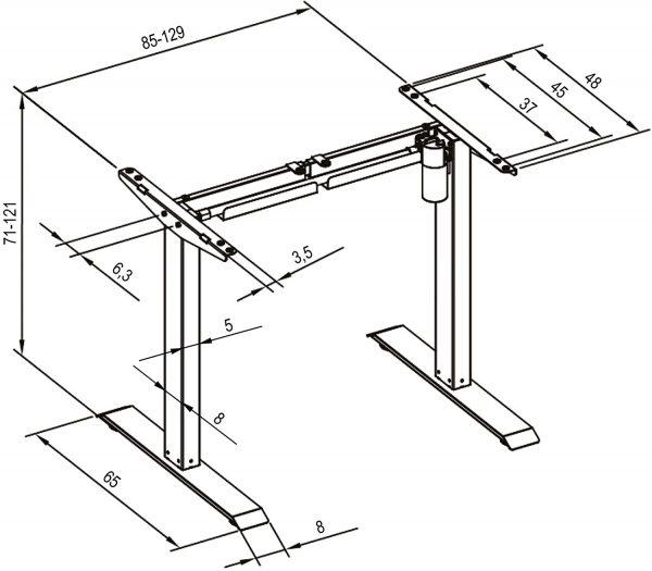 Cadre de bureau assis-debout électrique TecTake Noir 800665 dimensions