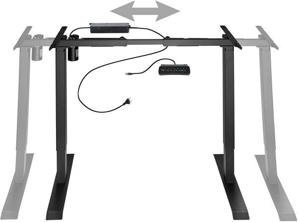 Cadre de bureau assis-debout électrique TecTake Noir largeur