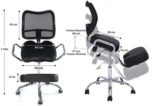 Chaise de bureau Kqueo dimensions