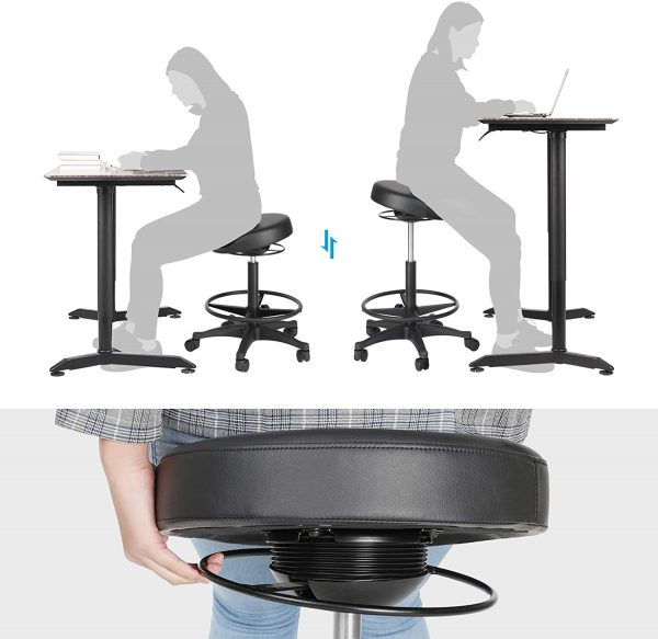 Tabouret Songmics noir sur roulettes OSC007B01 bureau assis-debout