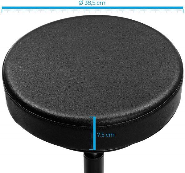 Tabouret Songmics noir sur roulettes OSC007B01 dimensions assise