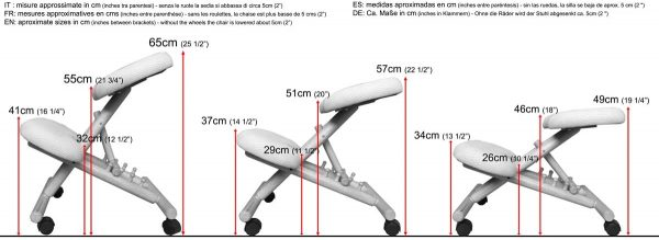 Tabouret assis-debout ergonomique Cinius dimensions