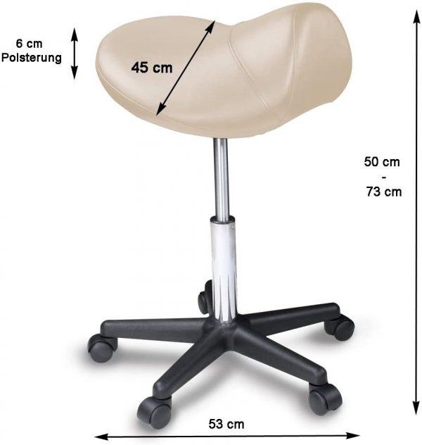 Tabouret ergonomique selle avec roulette Promafit dimensions