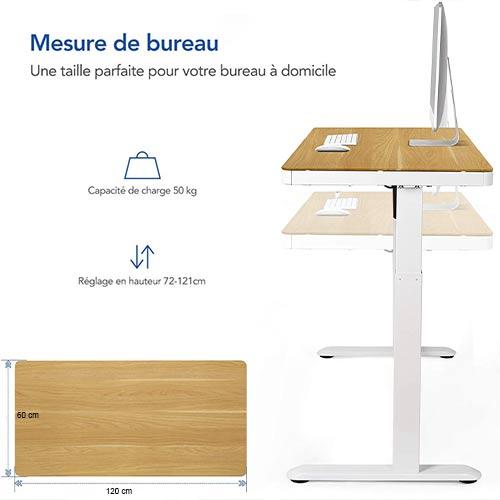 Bureau-assis-debout-Flexispot-EG8W-caractéristiques-dimensions-erable