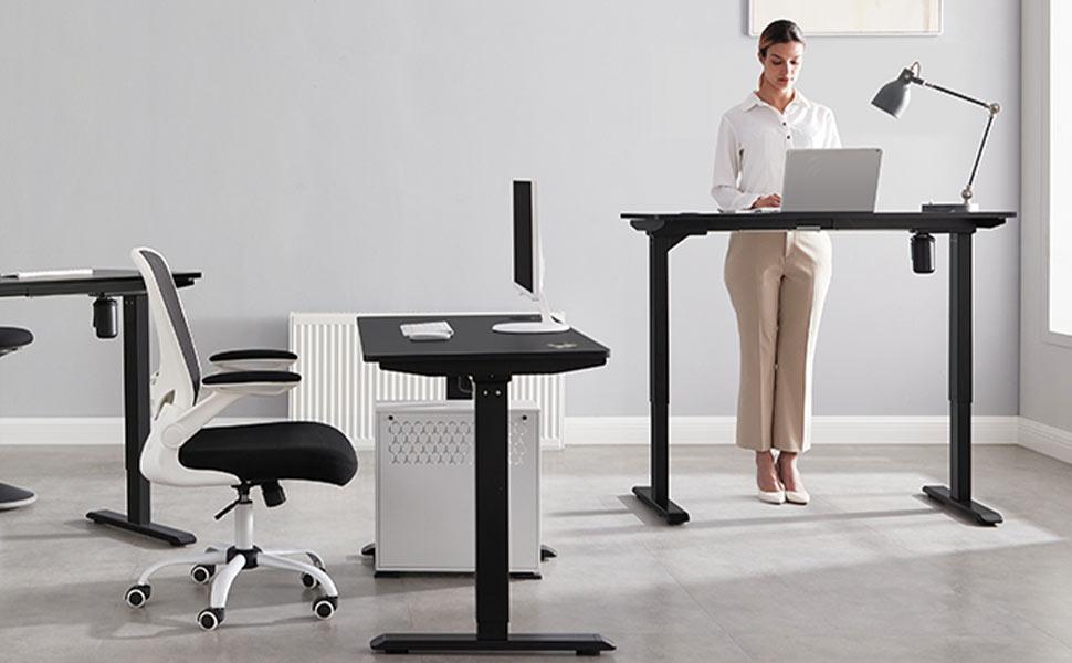 Bureau-télétravail-avec-deux-bureaux-assis-debout-electrique-de-la-marque-Songmics